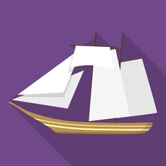Topsail schooner ship icon. Flat illustration of topsail schooner ship vector icon for web design