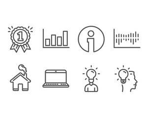Set of Report diagram, Education and Column diagram icons. Notebook, Reward and Idea signs. Financial market, Human idea, Sale statistics. Laptop computer, First place, Professional job. Vector
