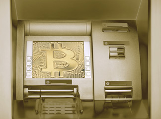 Street Bitcoin ATM teller machine with current operation. The concept of using digital currency