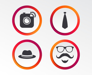 Hipster photo camera. Mustache with beard icon. Glasses and tie symbols. Classic hat headdress sign. Infographic design buttons. Circle templates. Vector