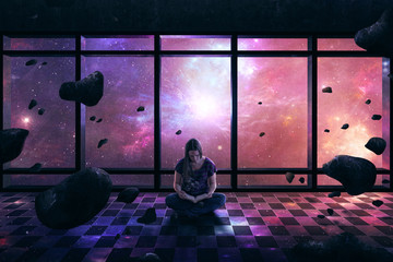 Woman surrounded by space