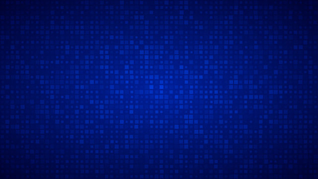 Abstract background of small squares or pixels of different sizes in blue colors.