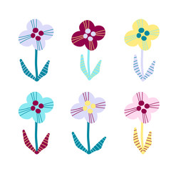 Set of cutout florals, summer time abstract pretty colorful flowers