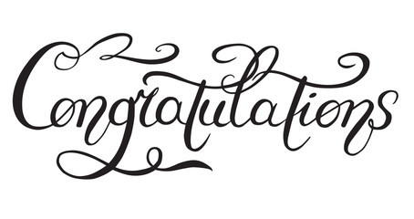 "The inscription ""Congratulations"", lettering, calligraphy black and white vector illustration isolated on white background."