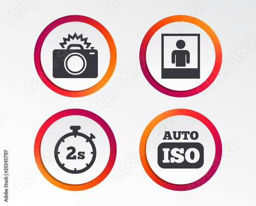 Photo Camera Icon Flash Light And Auto Iso Symbols Stopwatch Timer