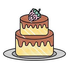 delicious cake with fruit strawberry kawaii character vector illustration design