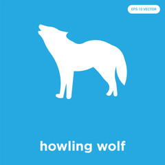 howling wolf icon isolated on blue background