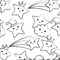 stars with clouds smiling pattern kawaii character vector illustration design