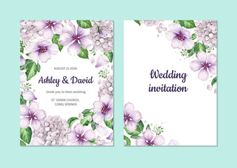 Floral background apple tree flowers, hydrangea in watercolor style isolated on white. Template for wedding card. Square composition. Place for text.
