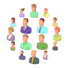 Different people icons set. Cartoon illustration of 16 different people vector icons for web