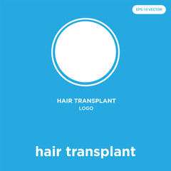 hair transplant icon isolated on blue background