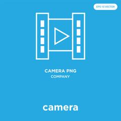 camera icon isolated on blue background