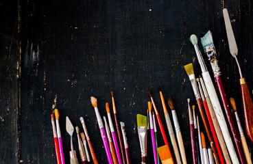 Artist paint brushes background.