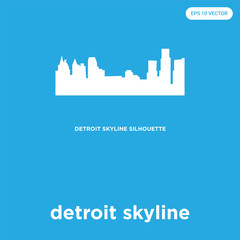 detroit skyline icon isolated on blue background