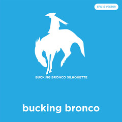 bucking bronco icon isolated on blue background