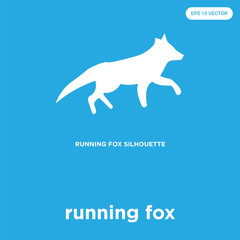 running fox icon isolated on blue background