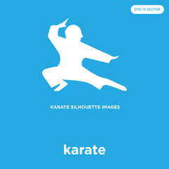 karate icon isolated on blue background