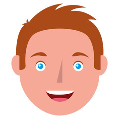 young man head avatar character vector illustration design