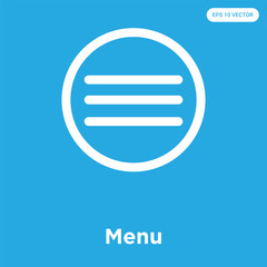 Menu icon isolated on blue background
