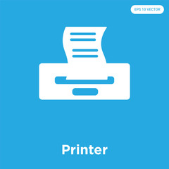 Printer icon isolated on blue background