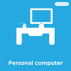Personal computer icon isolated on blue background