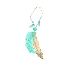 Feathers amulet digital art tribal illustration geometric on white background