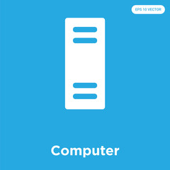 Computer icon isolated on blue background