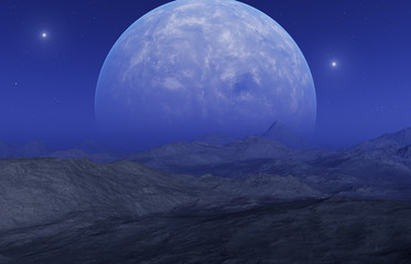 In de dag Aubergine 3d rendered Space Art: Alien Planet - A Fantasy Landscape