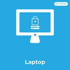 Laptop icon isolated on blue background
