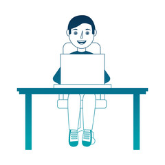man with laptop in desk character vector illustration design