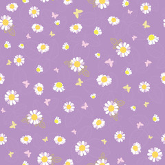 Purple white daisies ditsy seamless pattern. Great for summer vintage fabric, scrapbooking, wallpaper, giftwrap. Suraface pattern design.