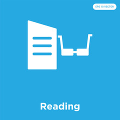 Reading icon isolated on blue background