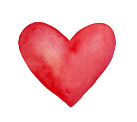 Deep red watercolor heart. Bright and beautiful. Symbol of love, compassion, sympathy, devotion, feelings, truth and honesty. Hand drawn water color graphic painting on white background, isolated.