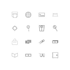 Banking, Finance And Money linear thin icons set. Outlined simple vector icons
