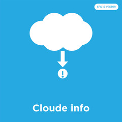 Cloude info icon isolated on blue background