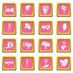 Photography icons set vector pink square isolated on white background