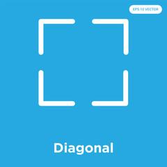 Diagonal icon isolated on blue background