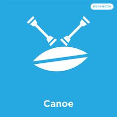 Canoe icon isolated on blue background