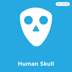 Human Skull icon isolated on blue background