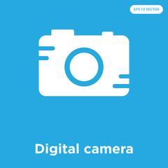 Digital camera icon isolated on blue background