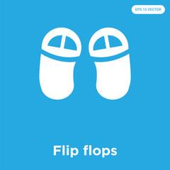 Flip flops icon isolated on blue background