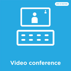 Video conference icon isolated on blue background