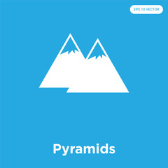 Pyramids icon isolated on blue background