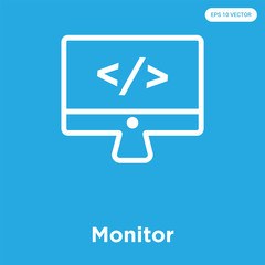 Monitor icon isolated on blue background