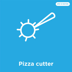 Pizza cutter icon isolated on blue background