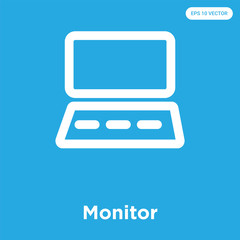 Monitor icon isolated on blue background