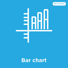 Bar chart icon isolated on blue background