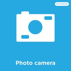 Photo camera icon isolated on blue background