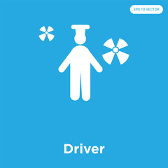 Driver icon isolated on blue background