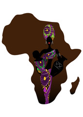 Africa maternity icon, population growth rate. A young Afro mother carrying baby being. Silhouette of a beautiful African woman with a Turban and amphorae. Map silhouette africa background isolated